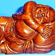 Laughing Buddha, Carved Rosewood Figurine.c1982