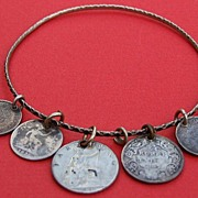 Antique English Indian C1881 silver love token coin charm bangle bracelet