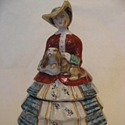 SALE Staffordshire Lady with Dog - Ceramic Box, c1910/20's
