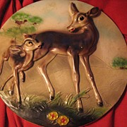 SALE Rare Early Bambi Plaque Made for Disney by Leonardi - 1940's
