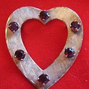 Vintage 14k Gold Heart Brooch  or Pin with Garnets