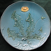 9 1/4&quot; Majolica Dandelion Plate, Zell Factories, Germany c.1910