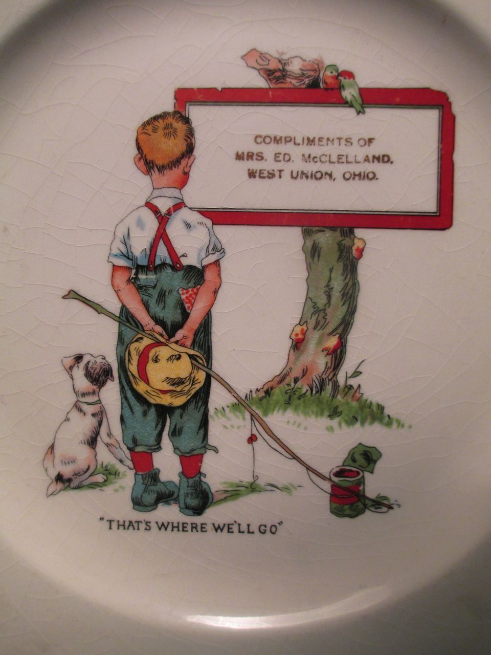 Child's Plate - West Union, Ohio - Fishing Theme c.1915