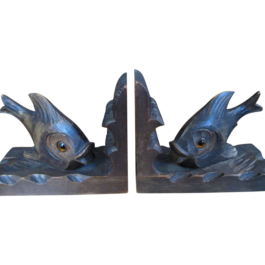 Fish Bookends With Glass Eyes