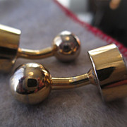 SALE Heavy Gold Plate Metal Dumbbell Cufflinks