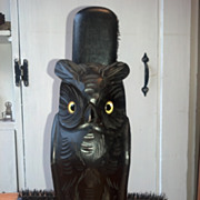 Black Forest &quot;Owl&quot; Brush Holder - Carved Wood