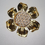 Large Givenchy Brooch Faux pearls
