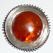 Wonderful Vintage Amber Sterling Brooch