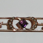Antique 10K Gold Amethyst Pearls Bar Pin