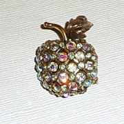 SALE Rhinestone Apple For The Teacher? Brooch