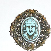 Art Deco Egyptian Motif brass and Glass Pin
