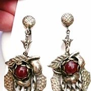 Arts & Crafts Silver Plated Earrings