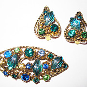 SALE Vintage Austrian Crystal Blue Green Set Brooch Earrings