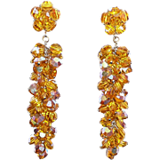 Awesome Vintage Long Golden Crystals Earrings