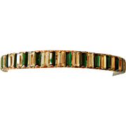 Vintage Large Rhinestone Green White Bangle Bracelet