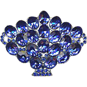 Vintage Basket Pin Bright Blue 1930's
