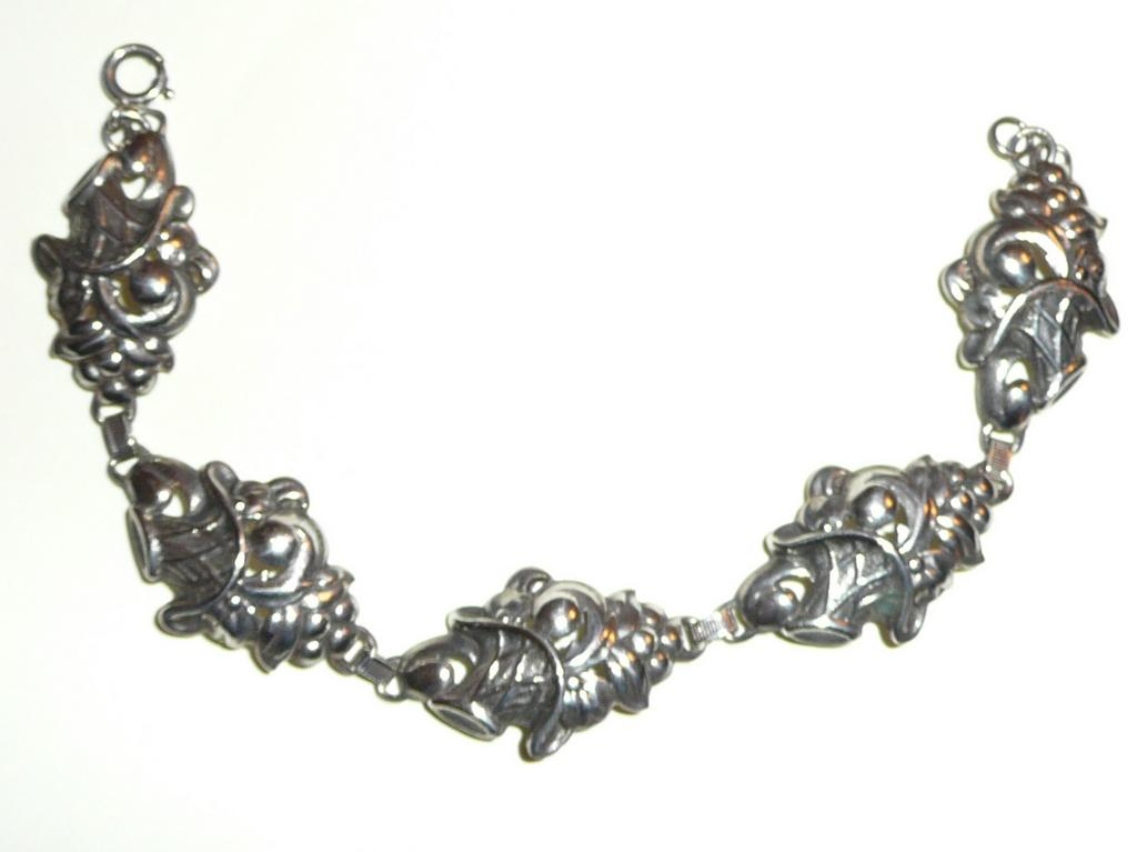 Vintage Sterling Baskets of Fruit Bracelet