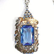 Large Art Deco Pendant Necklace Blue Glass