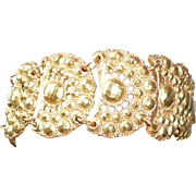 Bold 1980's Wide Heavy Gold Tone Bracelet