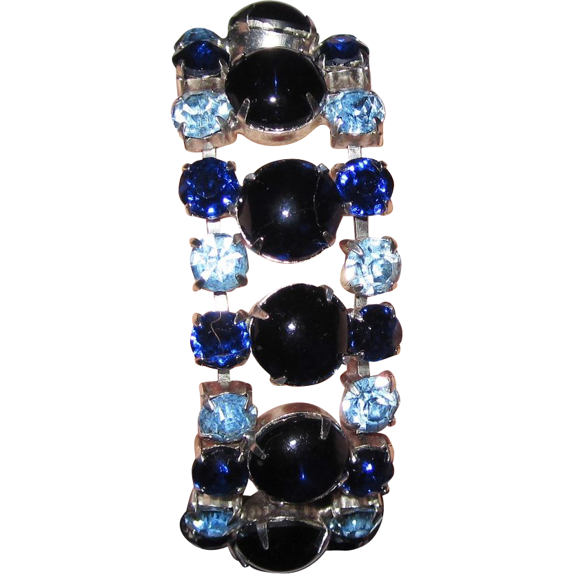 Vintage Glass Blue Cabochons Rhinestones Bracelet