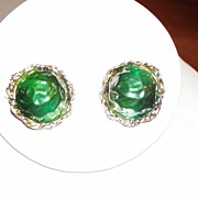 Vintage Green Clip Earrings