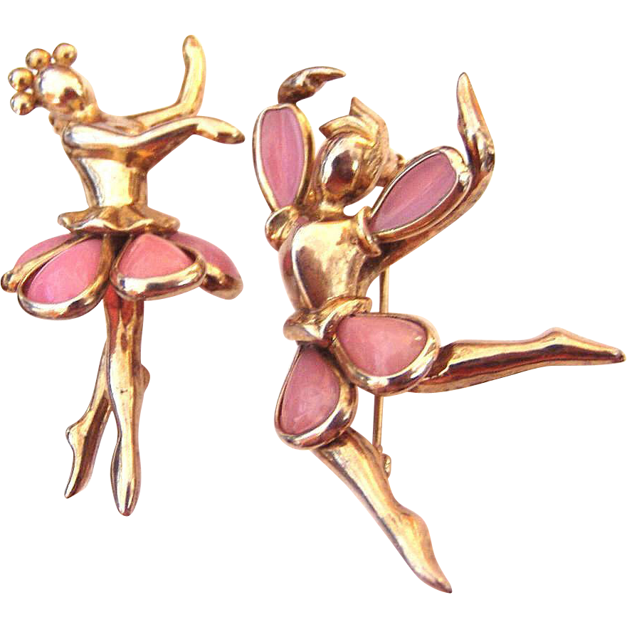 Vintage Poured Glass Male Female Ballet Dancers