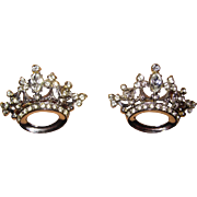 SALE Pair Coro Rhinestone Crown Brooches