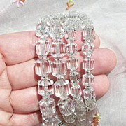 Best Art Deco Cut Crystals Long Necklace 31 Inches