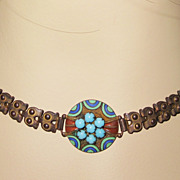 Art Deco Enamel Brass GlassChoker Necklace