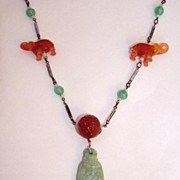 Art Deco Peking Glass Necklace