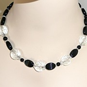 Art Deco Pressed Glass Beads Black and White