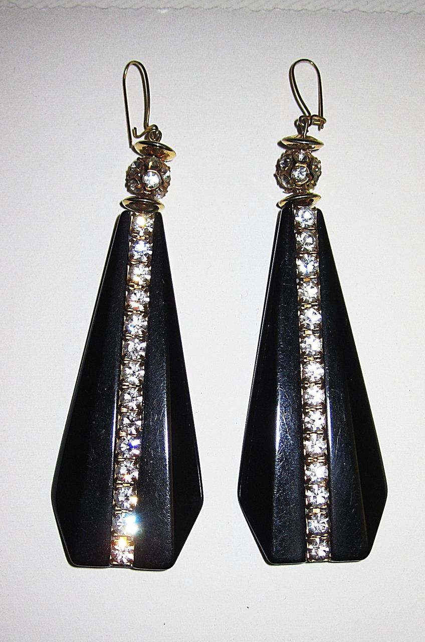 Wow Vintage Lucite Earrings Must See Black Geometric