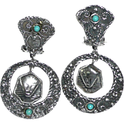 Art Deco Silver Egyptian Revival Earrings