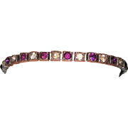 Purple Rhinestone Fishel, Nessler & Co. Sterling Art Deco Line Bracelet