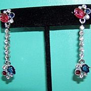 Gorgeous Fruit Salad Long Drop Earrings Red and Blue Book