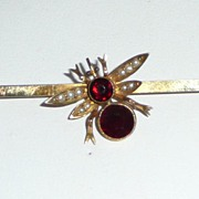 Victorian 9K Gold Garnet Pearls Pin Bug