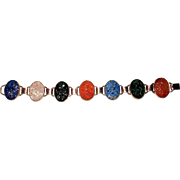 Gold Filled Bracelet Carved Pierced Spinach Jade Lapis Quartz Carnelian