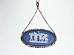 Victorian 10 Karat Gold Wedgwood Pendant Necklace  Blue