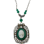 Vintage Glass Cameo Pendant Necklace