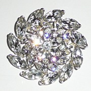 SALE Gorgeous Rhinestone Pinwheel Flower Brooch