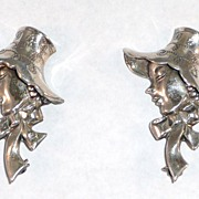 Pair of Lang Sterling Lady in Hat Brooches