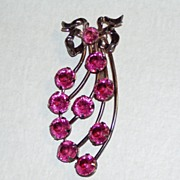 Vintage Large Pink Brooch with Ribbon Bow