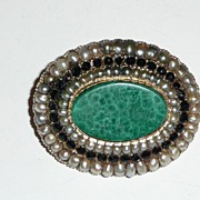 Victorian Mourning Gold Brooch Malachite