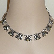 Vintage Mexican Silver Necklace and Bracelet Set