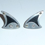 Modern Silver and Wood Earrings Diamonds Biomorphic