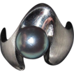 Estate Modern Ring 18K white Gold with Gray Pearl