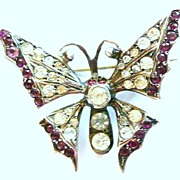 Antique Silver Paste Butterfly Pin