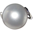 Estate South Sea White Pearl 12mm Round Platinum Ring