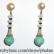 Art Deco Peking Glass Earrings Screwback