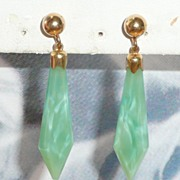 Art Deco Peking Glass Drop Earrings Gold Fill